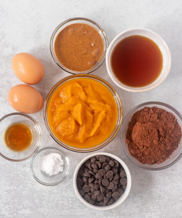 almond butter, eggs, vanilla extract baking soda, pumpkin puree, dark chocolate chips , cocoa powder, maple syrup