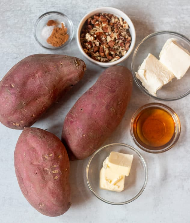 sweet potatoes, butter, maple syrup, cream cheese, chopped pecans, seasonings