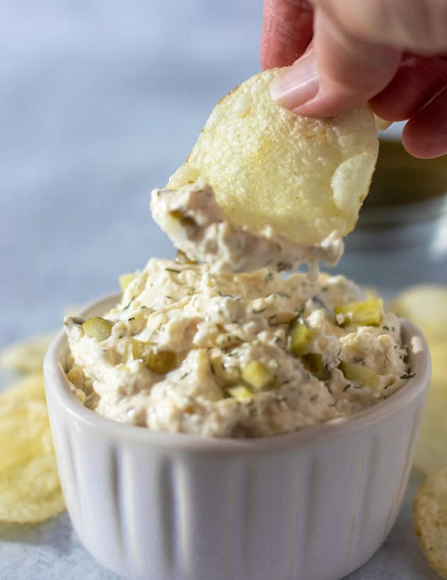 dill pickle dip on a chip