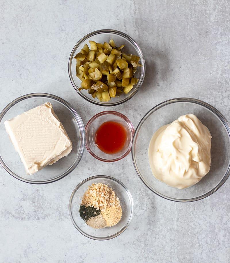 cream cheese, dill pickles, mayo, hot sauce, seasonings