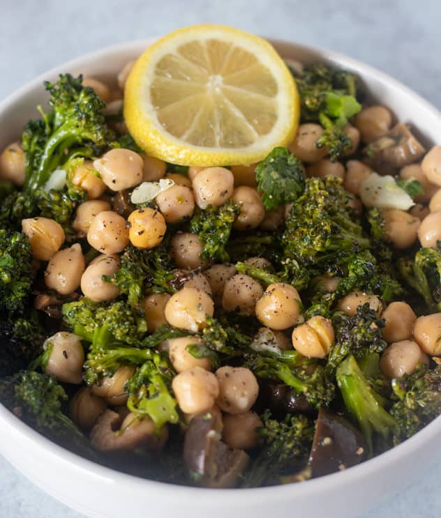 Broccoli Chickpea Salad recipe in a white bowl.