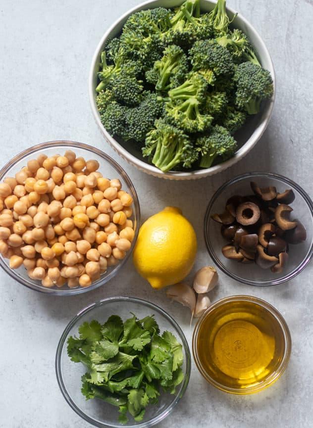 Broccoli, Chickpeas, Lemon, Black Olives, Cilantro, Olive oil