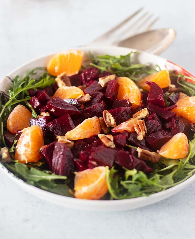 Roasted Beet Salad in a white bowl