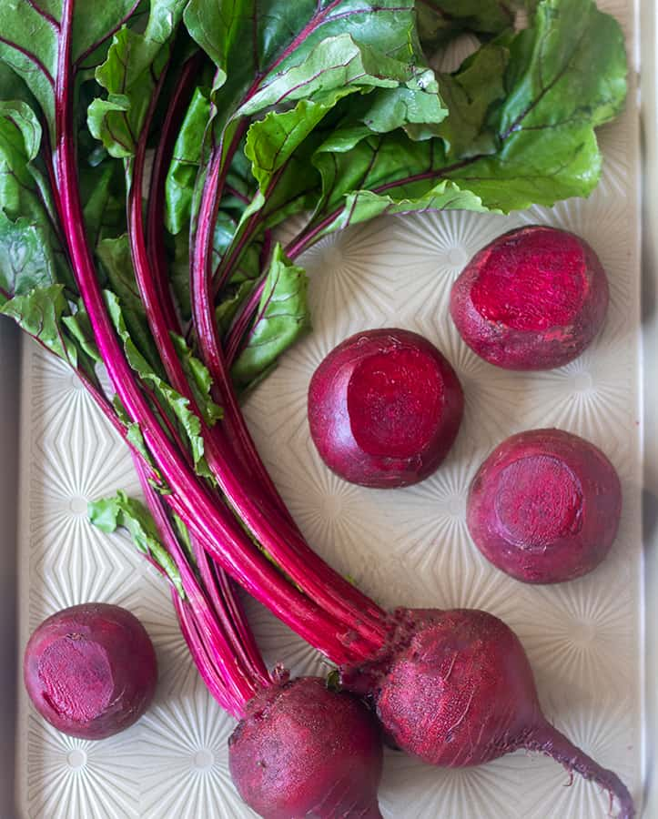 Fresh Beets on the stalks and some that have been trimmed