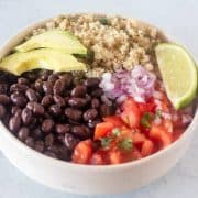 burrito bowl ingredients in a bowl