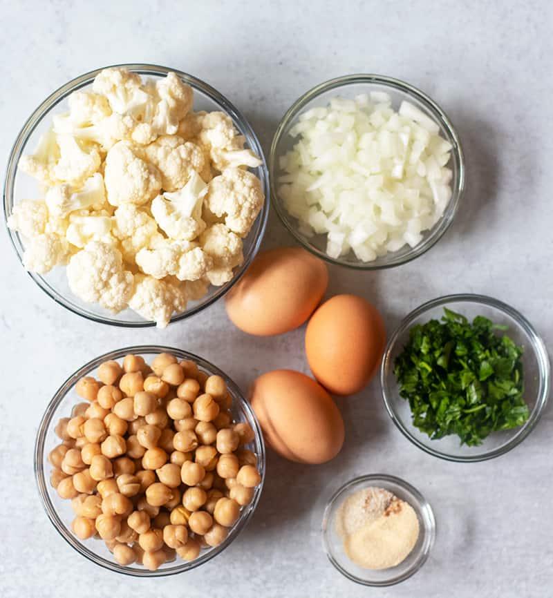 Cauliflower, chopped onions, chickpeas, eggs, parsley, seasonings
