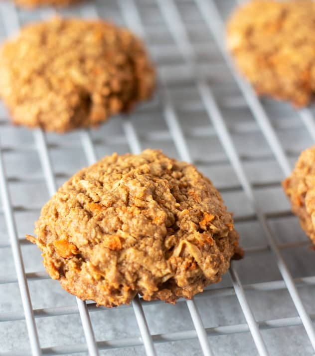 carrot cake cookies on cooling rack