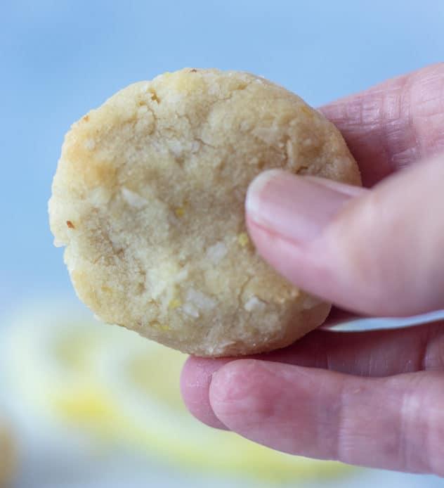 lemon cookie in hand