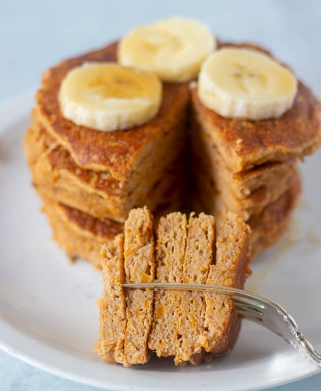 Sweet Potato Pancakes on a fork