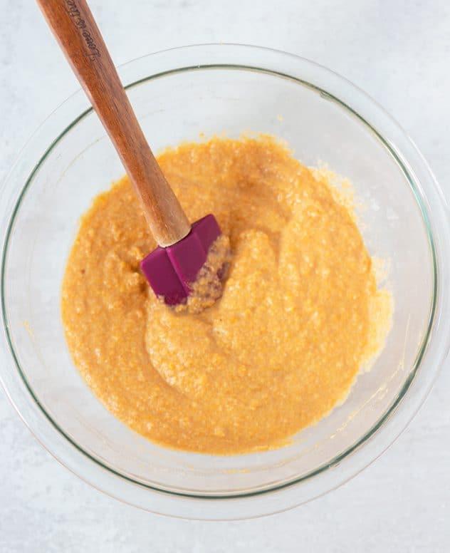 Sweet potato pancake batter in mixing bowl