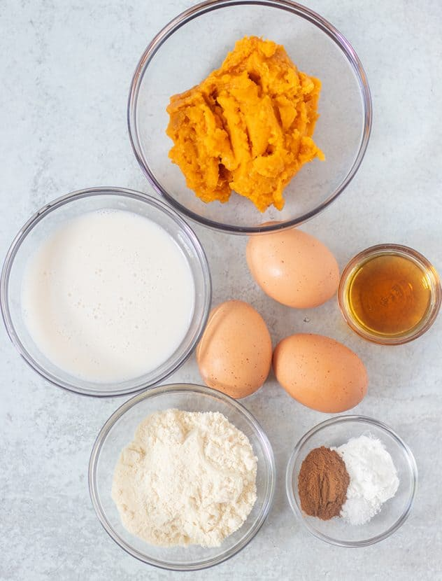 sweet potatoes, almond milk, coconut flour, eggs, maple syrup, spices