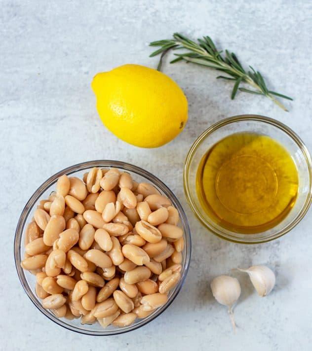 cannellini beans, lemon, rosemary, olive oil, garlic
