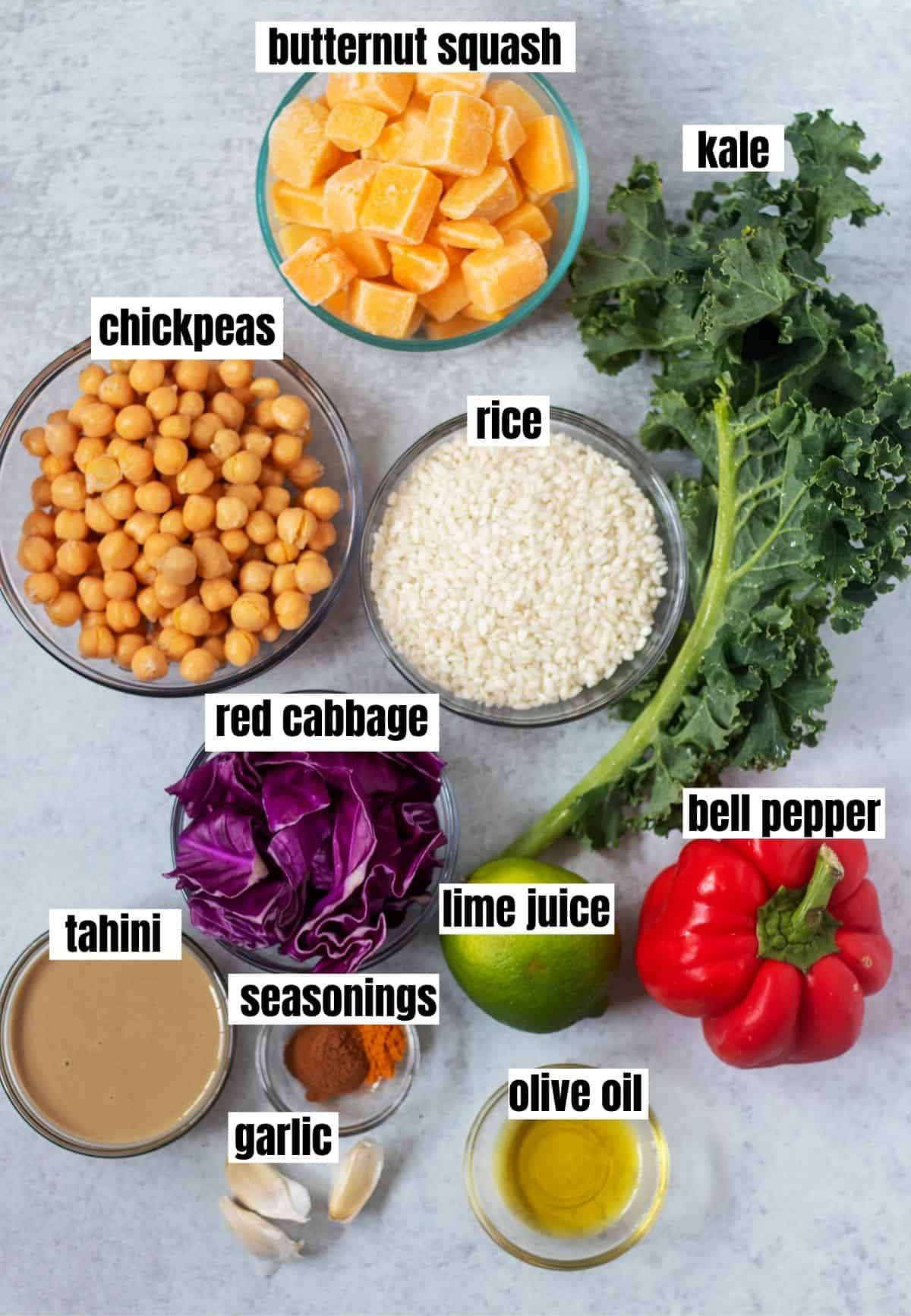 butternut squash, kale, chickpeas, rice, red cabbage, lime juice, red bell pepper, tahini, seasonings, olive oil and garlic