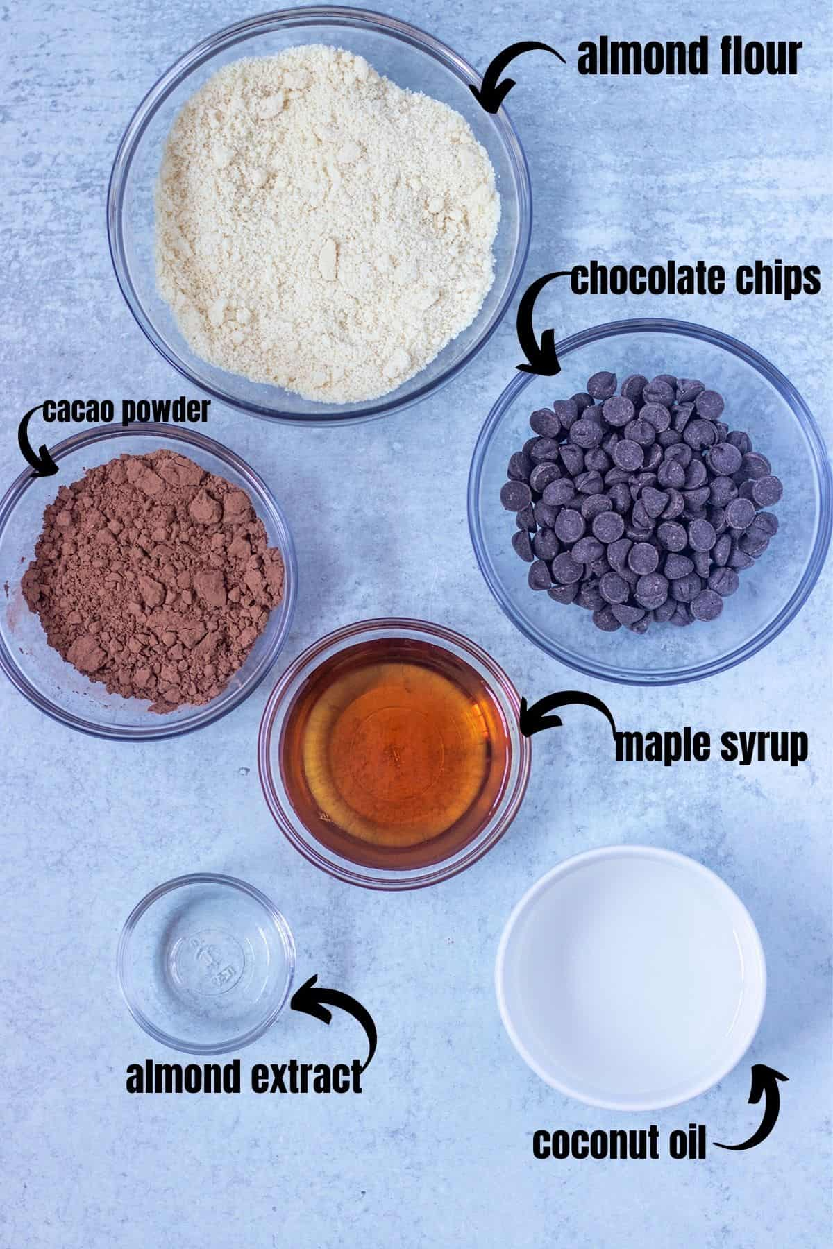 almond flour, dark chocolate chips, cacao powder, maple syrup, almond extract, coconut oil
