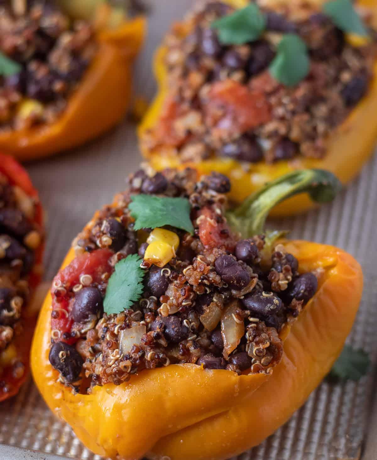 Vegan stuffed peppers with black bean quinoa filling