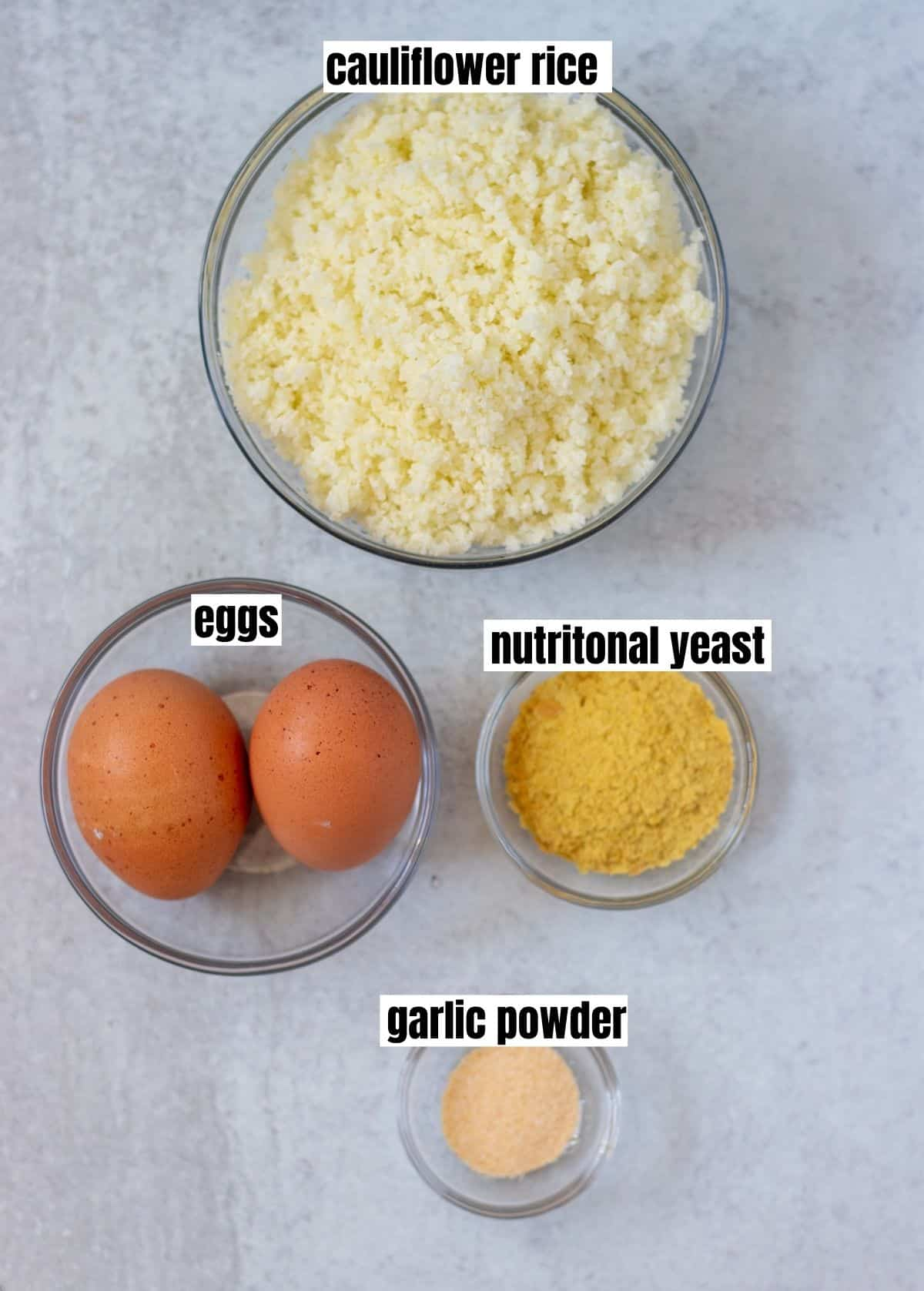 cauliflower rice, eggs, nutritional yeast, garlic powder