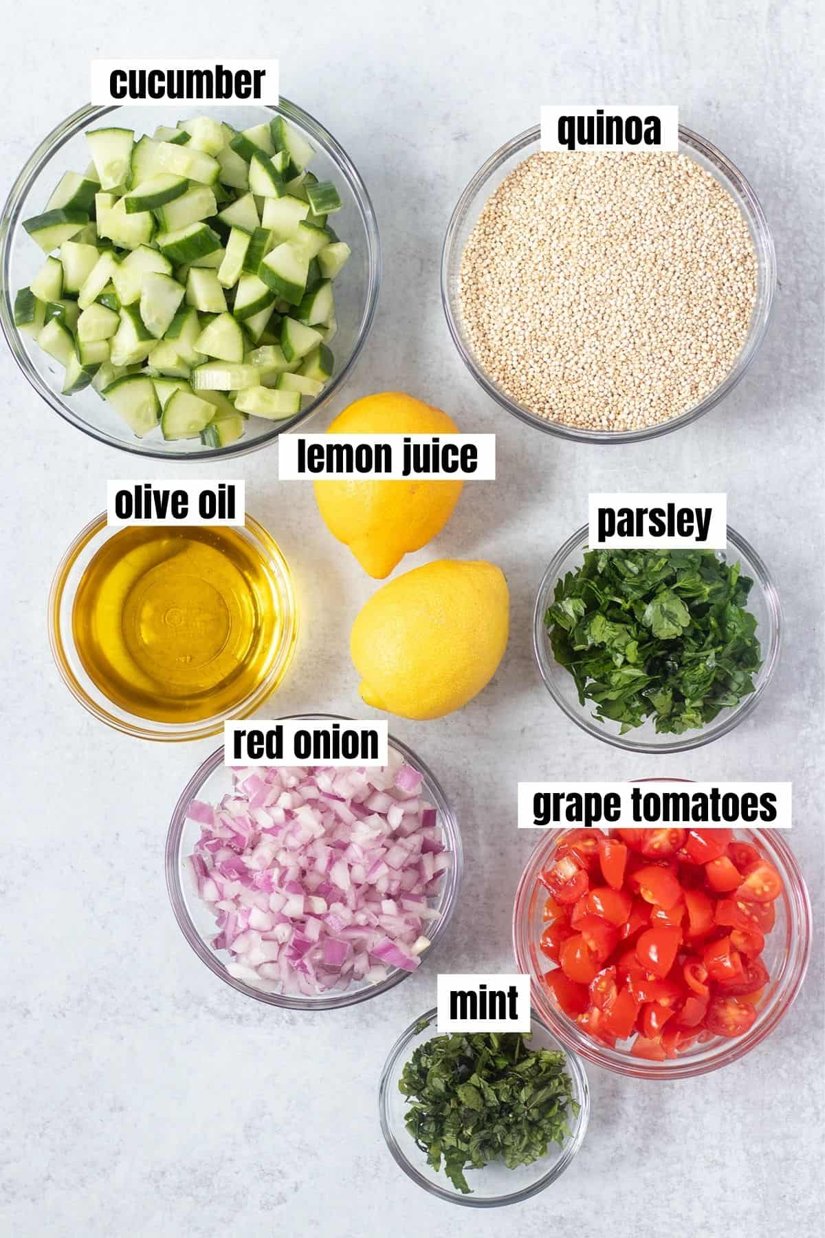 diced cucumber, quinoa, olive oil, lemons, parsley, red onion, tomatoes and mint