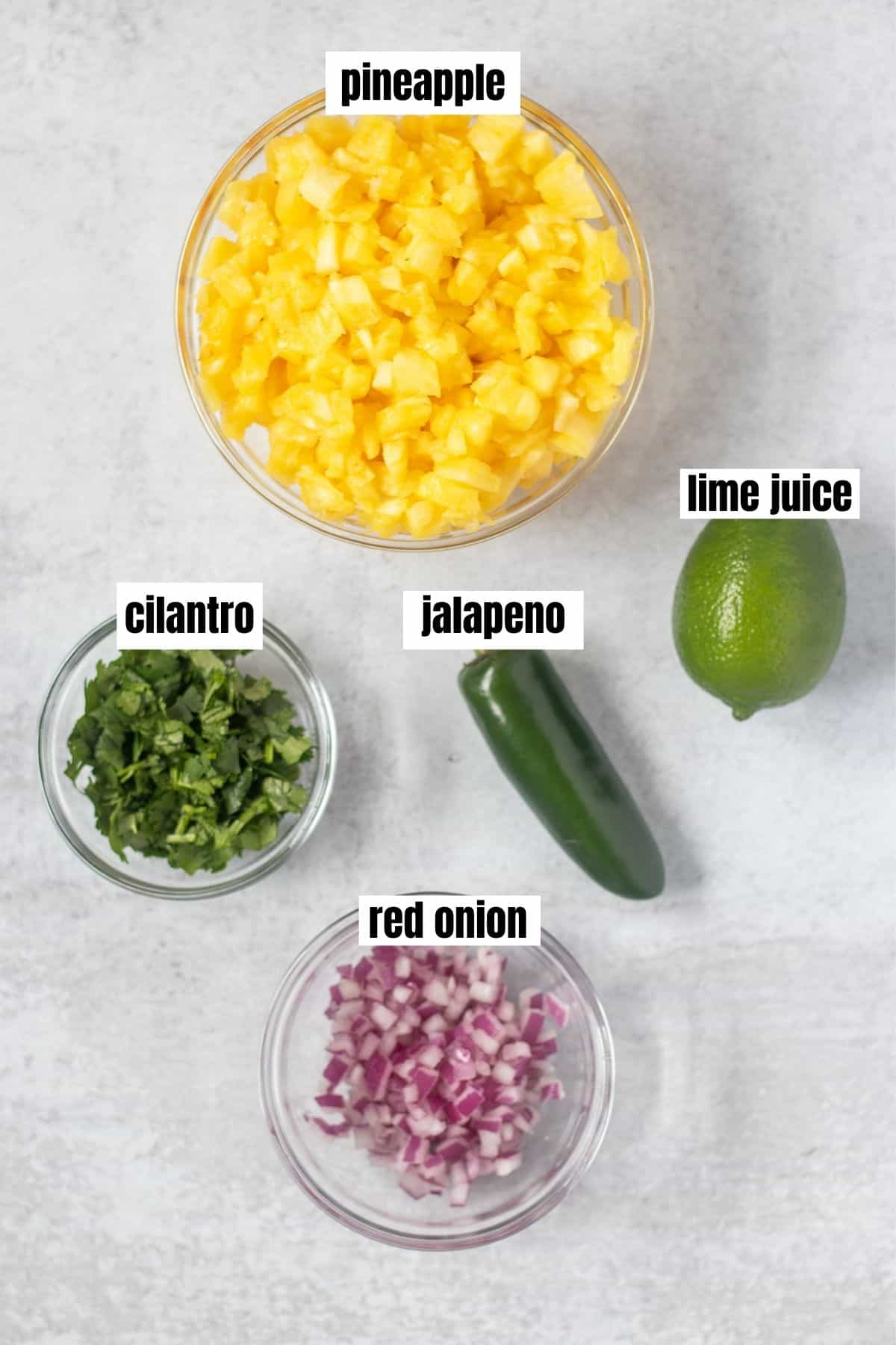 diced pineapple, chopped cilantro, jalapeno, lime, chopped red onion