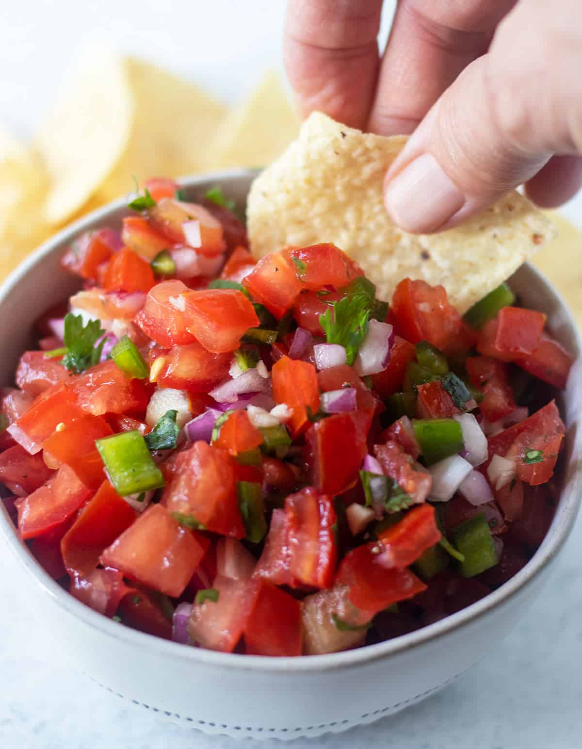 homemade pico de gallo in a white bowl with blue trim and a hand dipping some out with a tortilla chip.