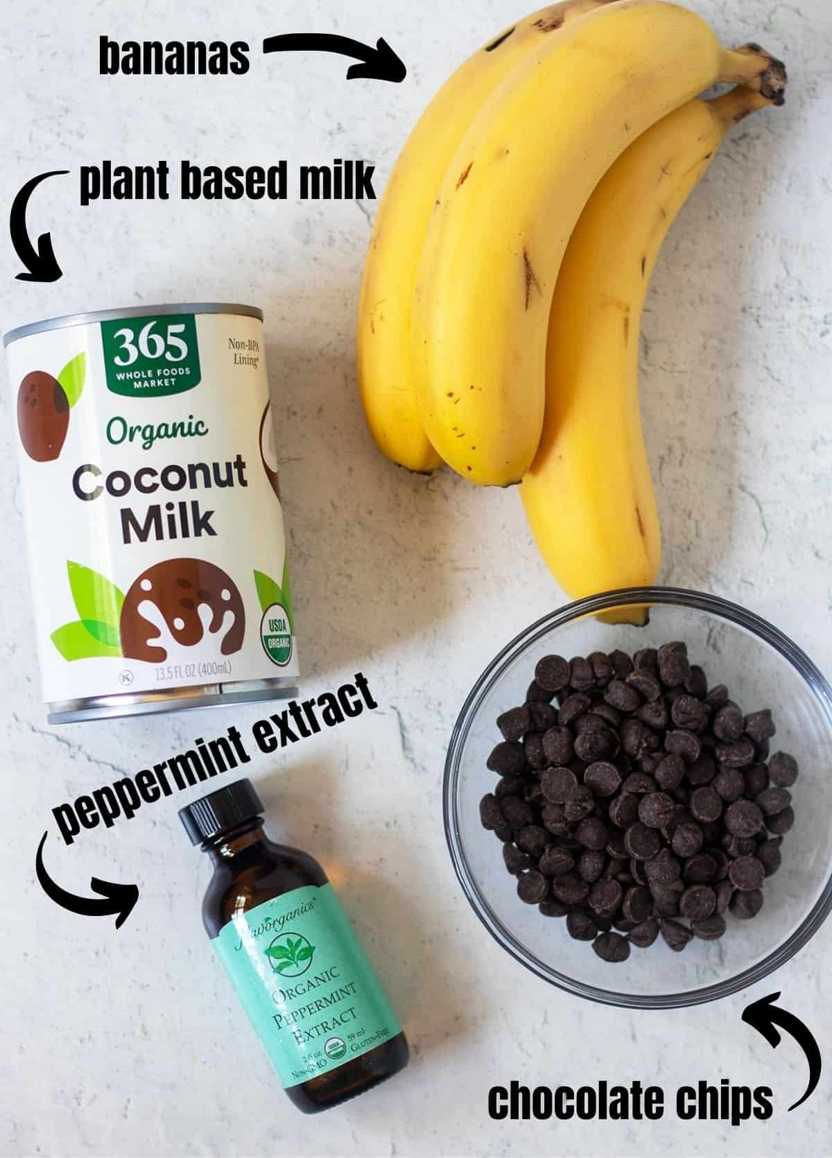 coconut milk, bananas, peppermint extract, chocolate chips