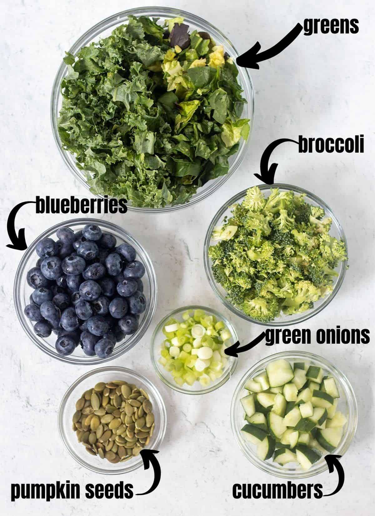 salad greens, broccoli, blueberries, green onions, pumpkin seeds, cucumbers.