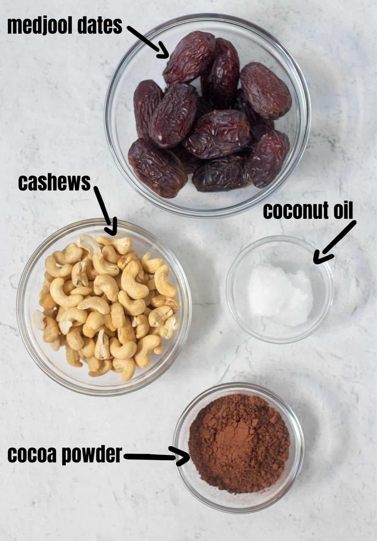 medjool dates, cashews, coconut oil, cocoa powder