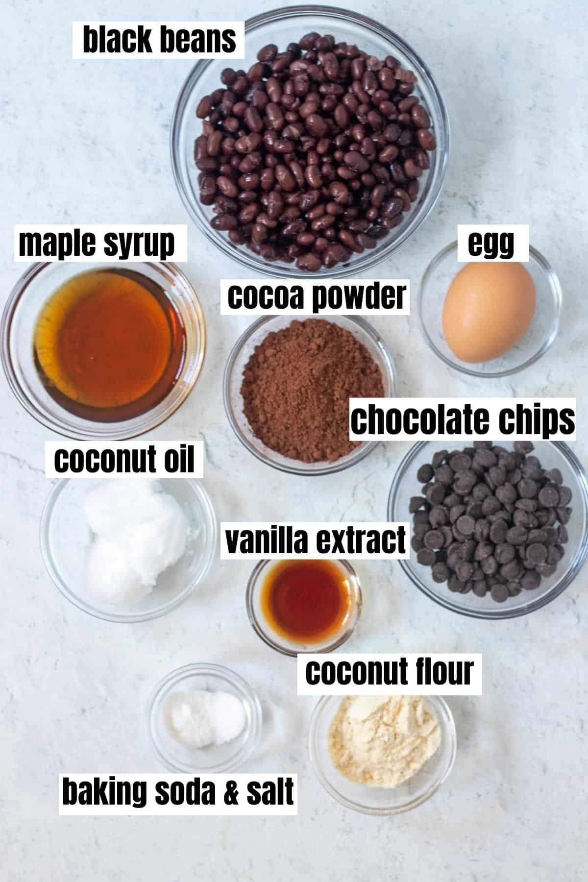 ingredients for black bean cookies